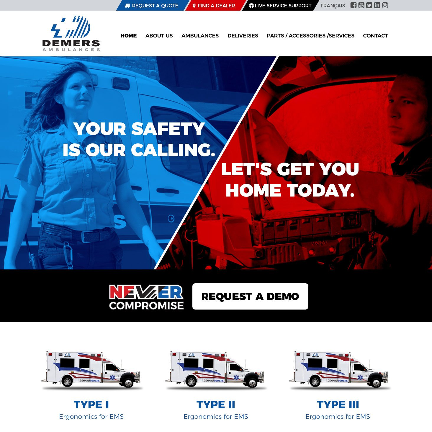 Demers Ambulance Web Design